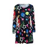 YWLINK Damen Weihnachtsdruck Rundhals Langarm Pullover Mini Kleid Swing Kleid