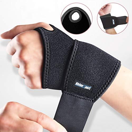 RhinoSport Handgelenk Bandagen Wrist Wraps Handgelenkbandage für Fitness, Bodybuilding, Kraftsport & Crossfit für Frauen und Männer Handgelenkschoner Handgelenkstütze (Schwarz, Linke)