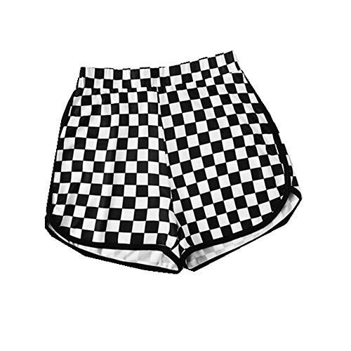 Print Dolphin Hem Shorts Damen Sportliche Sommer Shorts mit mittlerer Taille Lässige, elastische Taillen-Plaid-Shorts in Schwarz und Weiß -