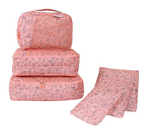 COMVIP 6-Teiliges Set Wäschebeutel Kofferorganizer Kleidertaschen Packtaschen Kofferorganizer Reisetaschen Pink Blüte Melone-Rot