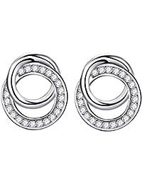 J. Shine Double Ring Silver 3A Cubic Zirconia Stud Earrings Set Women Gift For Girlfriend Wife Mother