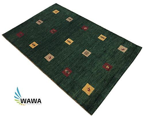 Wawa teppiche gabbeh tappeto 120x 180cm mano geknuepft ~ 100% cotone ~ verde