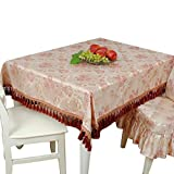 CGN Tischdecke Luxus Große Runde Tisch Tischdecke Stoff Baumwolle Leinen Tischdecke Runde ovale Lila Couchtisch deckte Stoff Tassel Seite Schön (Farbe : Lila, Größe : 150*150cm)