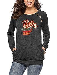 6209466610dffd Riverdale Maglietta Stampate Donna T-Shirt con Tasche Camicetta Rotondo  Collo Casuale Tops Manica Lunga
