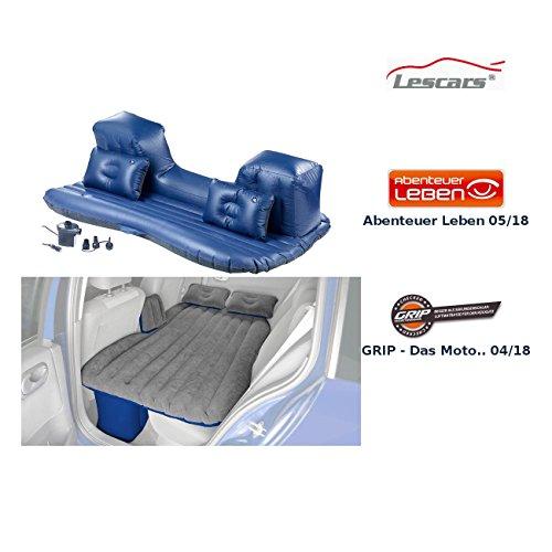 Lescars Auto Matratze: Aufblasbares Bett für Den Auto-Rücksitz mit 12-Volt-Luftpumpe (Autoluftbett)