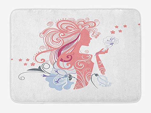 Girls Bath Mat, Silhouette of Sexy Lady and Flowers Muse of Nature Fashion Glamour Image Print, Plush Bathroom Decor Mat with Non Slip Backing, 23.6 W X 15.7 W Inches, Coral Lavander