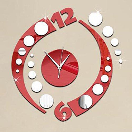Clock orologio da parete orologio da parete con specchio specchio decorazioni da parete adesivo tridimensionale da parete ornamenti creativi moderni. luoghi pubblici,red