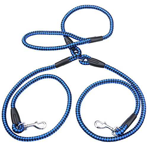 Braided-Double-Dog-Leash-Nylon-2-Way-Coupler-Rope-Two-Dogs-Walking-Leads-4-Colors-50-Inch-Length-For-Small-Breeds