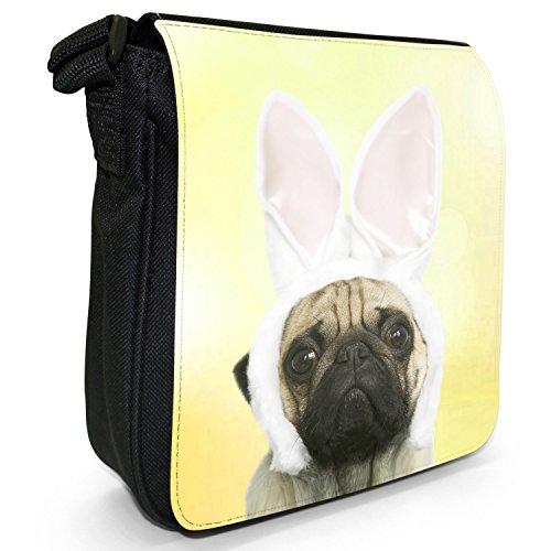 Carlino in orecchie di coniglio piccolo nero Tela Borsa a tracolla, taglia S Yellow - Pug In Rabbit Ears