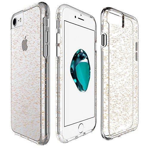 Cover per iPhone 7 Plus / iPhone 8 Plus, VemMore Custodia in Trasparente Silicone Morbido TPU Case di Ultra Sottile Flessibile con [2 in 1 ] Softcase Gel Gomma Resistente Caso con Glitter Bling Stella Oro