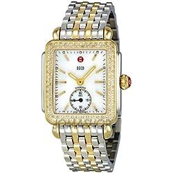 Michele Michele Deco 16 Blanco Madre de Perla Dial Amarillo Dorado Reloj MWW06V000023