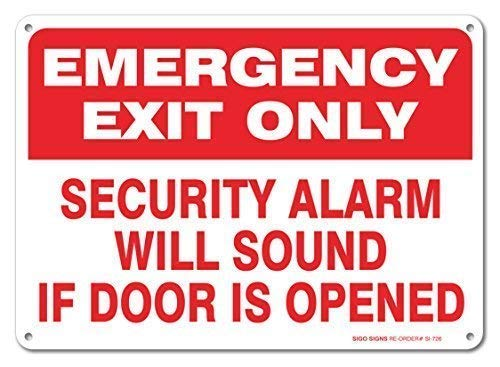 Tomlinsony Blechschild Metal Tin Sign Aluminum Room Sign Emergency Exit Only Security Alarm Will Sound If Door is Opened Sign 12