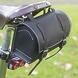 Fahrradtasche, klassisch, quadratisch, für Lenker, Sattel, echtes Leder, schwarz/weiß für Fahrrad-Werkzeuge