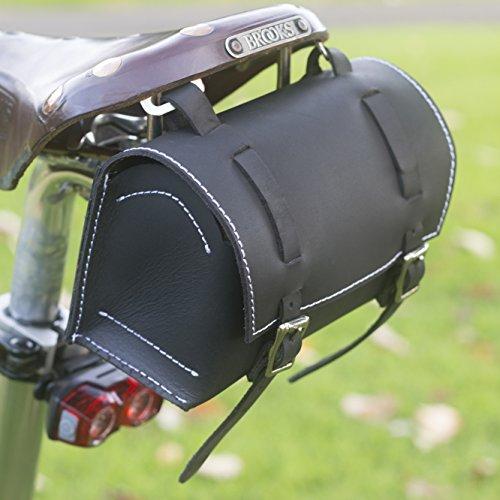 Classic Square Sattel/Lenker Fahrrad Tasche echt Leder Schwarz/Weiß für Bike Werkzeuge