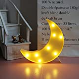 Lovely Moon LED Night Lights Warm White 8les Lights for Kids Children Sweet Nursery Room Decorations-Yellow