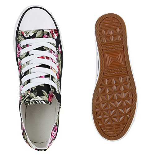 Damen Sneakers Spitze | Denim Sportschuhe Strass | Stoffschuhe Blumen Prints | Textil Schuhe | Sneaker Low Schwarz Blumen