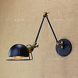 HJZY Loft Lámpara de luz de Pared Ajustable de Metal Vintage Plegables retráctiles Apliques de Pared para el Comedor del Dormitorio del Dormitorio Junto a la Toma de Corriente e27 (Color : Black)