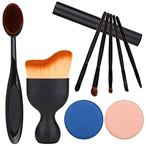 Sgm Makeup Brush Set, Contour, Eyeshadow & Blush Brush, Oval Toothbrush Curve Brush With Brush Cleaner Washing Brush Glove Scrubber & Puff 10 Pcs