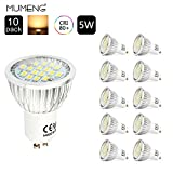 MUMENG GU10 LED Lights,5W GU10,120°Beam Angle,400LM,Warm White 3000K,Pack of 10 units.(Non dimmable)