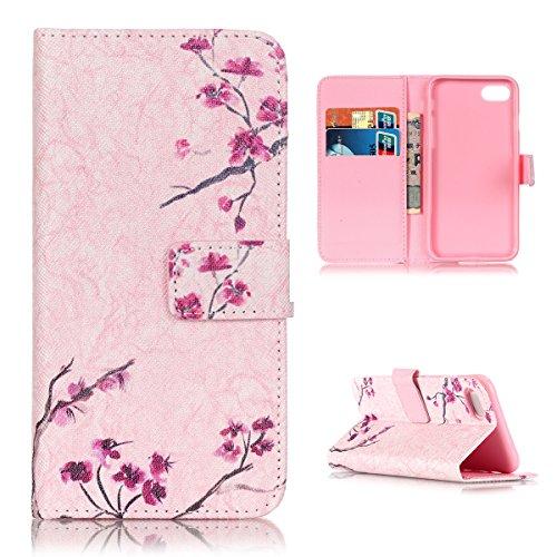 Flip Cover per iPhone 7, Moonmini® Custodia Wallet a Portafoglio Libro in PU Pelle con Stand, Slot & Chiusura Magnetica - Pink Flower Plum Blossom - Pulsante Politico Vintage