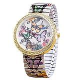 Damen Uhren,Kimdera Frauen Quarts Elastizität Uhr Mode analog Legierung Armbanduhr geschäft beiläufig Bralette Uhr Geschenk, Rundes zifferblatt aus Edelstahl Uhr (weiß)