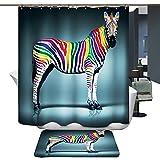 Harson&Jane De alta calidad de la impresión digital de espesor ducha impermeable material de la cortina Tamaño 180 * 180 o 180 * 200 (180*200, Cebra)