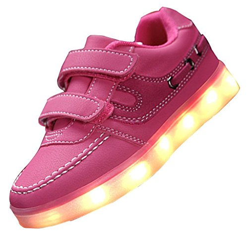(Présents:petite serviette)JUNGLEST® Little Boy Fille Kid recharge USB LED Light Up Glow Souliers Cl Rose