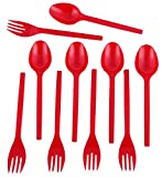 #7: Red Forks & Spoon - Pack of 50 (25 + 25)