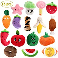 RAIN QUEEN Squeaky Dog Toys for Small Dogs, Plush Vegetable & Fruits Dog Toy Set for Puppy, Puppy Squeaky Plush Dog Toys-16 PCS