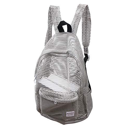 Transparente Mesh Rucksack GMY Sport Travel School Bookbag durchsichtig Beach Netting Rucksack mit gepolsterten Trägern für Kinder Männer Frauen (grau) (Rucksack Netting)