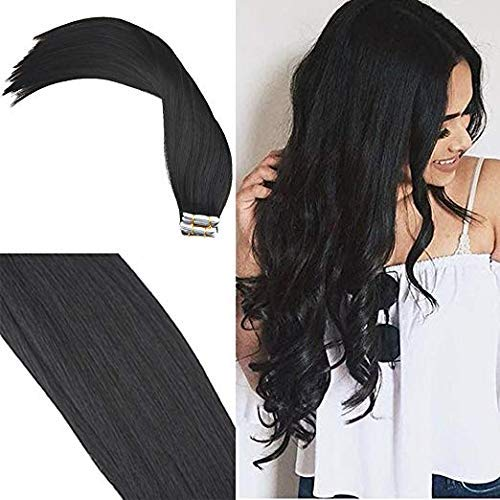 YoungSee 26zoll/65 cm Tape in Extensions Schwarz #1 Skin Weft Extensions Echthaar Tape in 100% Remy Echthaar Glatt 20pcs/50g (26 Extensions In Zoll Hair Tape)