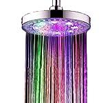 Regendusche LED Duschkopf Rund 20cm | 7 Farben | Bunte Farbwechsel | Große Überkopfbrause Wasserfall