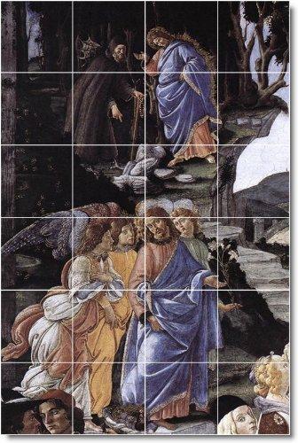 SANDRO BOTTICELLI RELIGIOSO DUCHA MURAL DEL 17  17 X 64 77 CM CON (24) 4 25 X 4 25 AZULEJOS DE CERAMICA