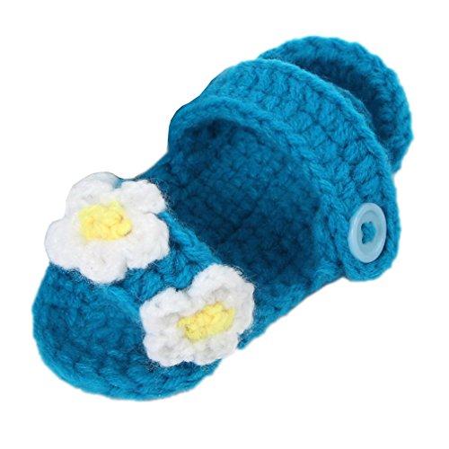 Bigood 1 Paar Strick Schuh Baby Unisex Strickschuh One Size süße Muster 11cm Blüte Deko Dunkelgrün Dunkelblau X IrQTTq