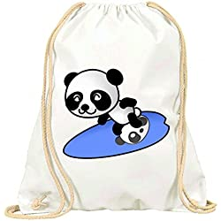 "'Turn Bolsa ""Panda de Navegar por de Surfer de verano de oso de peluche de dibujos animados de Feliz con cordón–100% algodón de bolsa Con Asas De Mochila de bolsa de deporte, Weiß"