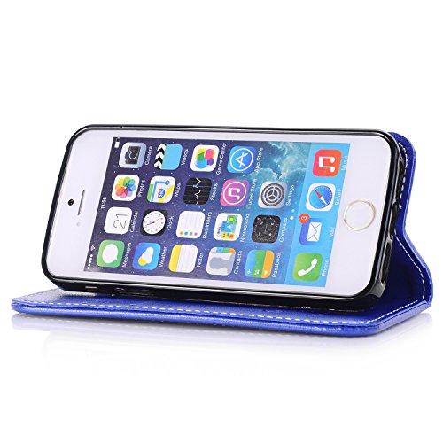 Rose Blumen geprägtes Muster Premium PU Leder Brieftasche Case, Folio Flip Stand Case Cover mit Halter & Card Slots & Magnetverschluss für iPhone 5 & 5s & SE ( Color : Brown ) Blue