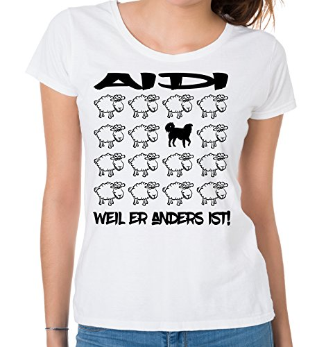 Siviwonder WOMEN T-Shirt BLACK SHEEP - AIDI Hütehund Schutzhund - Hunde Fun Schaf Weiß