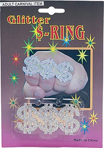 1980 Zeichen Kostüm - Erwachsene Gangster 1980s Jahre Kostüm Party Zubehör 3 Dollar Zeichen Glitzer Ring