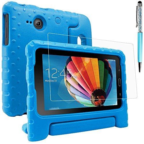 AFUNTA Schutzhülle für Samsung Galaxy Tab E Lite 7.0 mit Displayschutzfolie und Stylus, Cabrio Griffständer Eva Case, PET Kunststoffabdeckung und Touch Pen für Tablet 7 Zoll - Blau (Galaxy Tab 3 7 Zoll Cover)