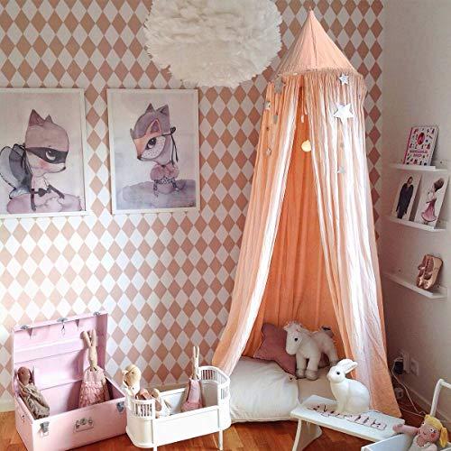 Baldachin Kinder, Jeteven Betthimmel Babys Bett Moskitonetz aus Baumwolle für Kinderzimmer und Schlafzimmer Insektenschutz Höhe 240cm Pink