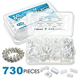 CQRobot 730 Pieces 2.0mm JST-PHR JST Connector Kit. 2.0mm Pitch Female Pin Header, JST PH - 5/6 / 7 Pin Housing JST Adapter Cable Connector Socket Male and Female, Crimp DIP Kit.