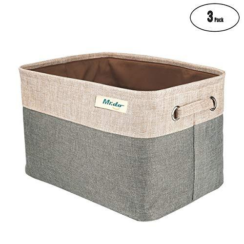 Mr.do® Faltbare Aufbewahrungsbox in Würfel Lagerung Korb Schrank Aufbewahrungskörbe mit Griffen für Spielzeug, Büro, Schrank, Zuhause - 3er Set Graugrün und Beige -