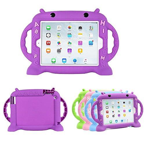 CHIN FAI iPad 2 Hülle für Kinder, BPA FREI Niedliche Silikonkautschuk Hülle mit Griff für iPad 2/3/4 [Stoßfeste Gitterstruktur] [Schlankes Design] (Lila) (Lila Ipad Deckung)
