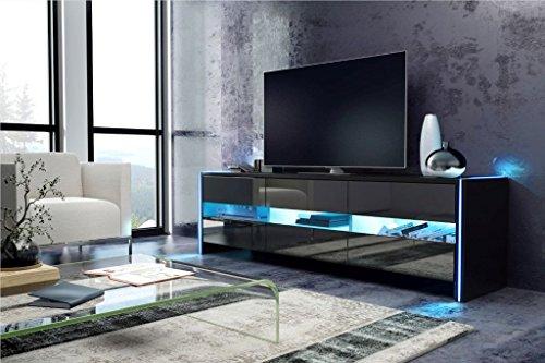 SKYLIGHT - Meuble TV / Banc TV (140 cm, Noir mat / Noir brillant)