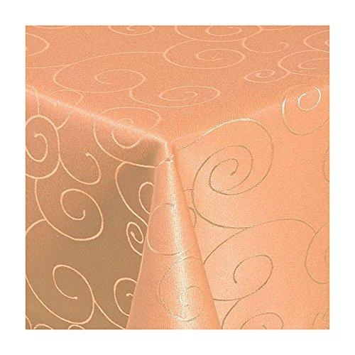 TEXMAXX Damast Tischdecke Maßanfertigung im Ornamente-Design in terrakotta 140x210 cm eckig, weitere Längen sind wählbar -