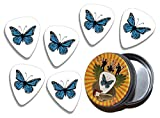 Blue Butterfly 6 X Logo Guitare Mediators Picks in Tin (GD)