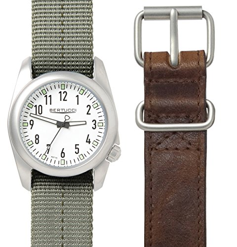Bertucci a-2s Ventara 01069uomo oliva Dash nylon-brown fascia in pelle quadrante bianco campo box set orologio