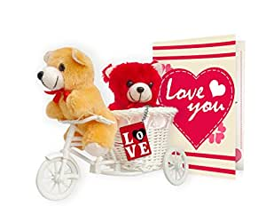 TIED RIBBONS Gift Combo Love Tri Cycle , Key Chain - Red