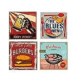 Easy Painter Vintage Metallschild für Lebensmittel, Vintage, Garage, Wanddekoration, Bier und Burger, 30,5 x 20,3 cm, 4 Stück