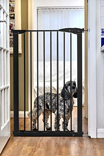 CALLOWESSE Cancelletto di Sicurezza Extra-Alto per Bambini & Animali - 75cm-82cm x 110cm di altezza (Colore: Nero)